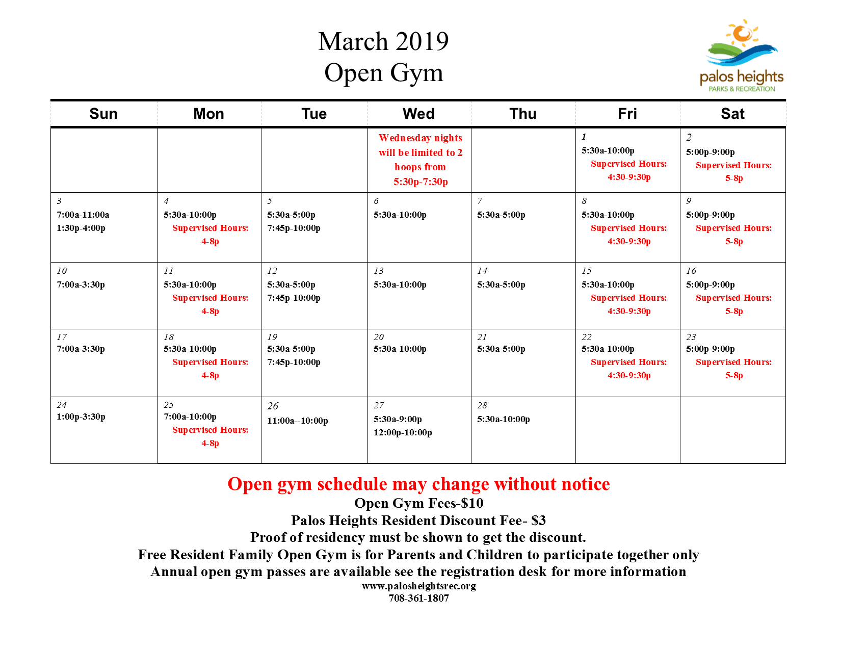 March 2019 OPen Gym